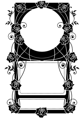 vector frame with roses in black and white Illustration