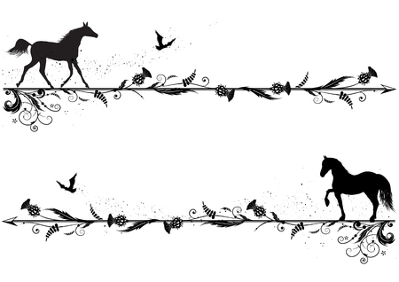 set van vector scheidingslijnen met paarden, riven en distel in zwart en wit