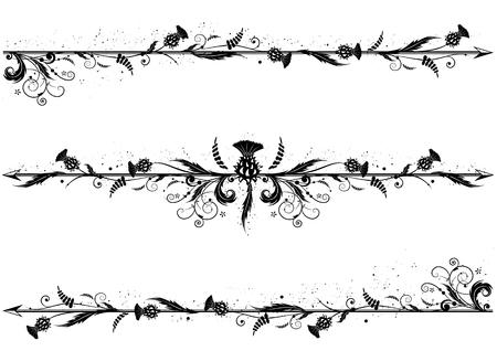 黒と白の色のアザミとベクトル仕切りのセット