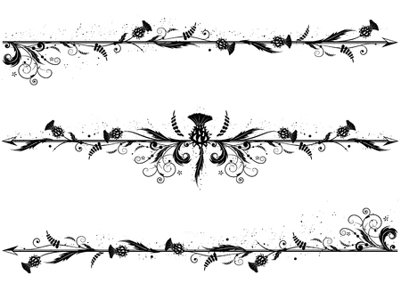 set of vector dividers with thistle in black and white colors Çizim