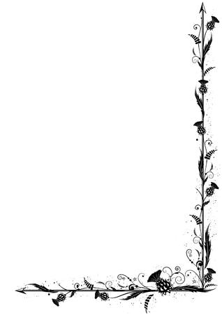 コーナー デザインの黒と白の色のアザミとベクトルの国境