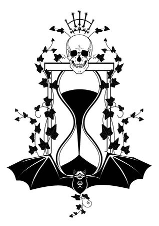 vector illustration with skull, ivy and sandglass in black and white colors