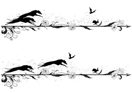 set of vector dividers with dogs, rabbit, riven and poppy in black and white