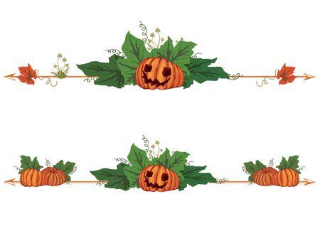 set of autumnal Halloween vector borders with pumpkins