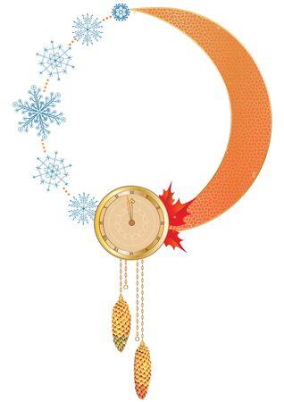 Vektorrahmen des neuen Jahres mit Uhr und Schneeflocken Standard-Bild - 86098509