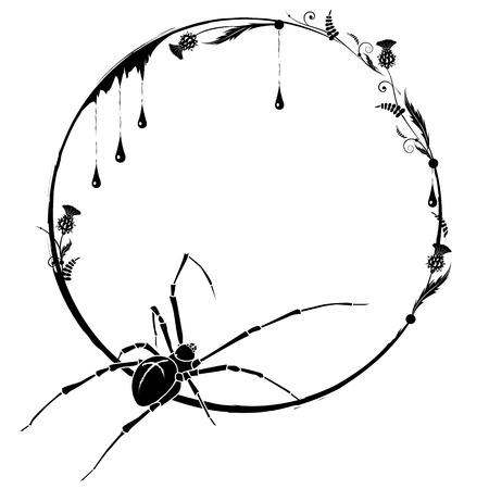 거미와 엉겅퀴 흑백 벡터 프레임 일러스트
