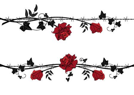 Ensemble de diviseurs de vecteur avec rose et lierre avec fil de fer barbelé dans les couleurs noir, rouge et blanc