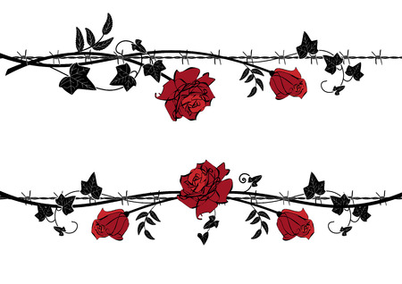 Set of vector dividers with rose and ivy with barbed wire in black, red and white colors