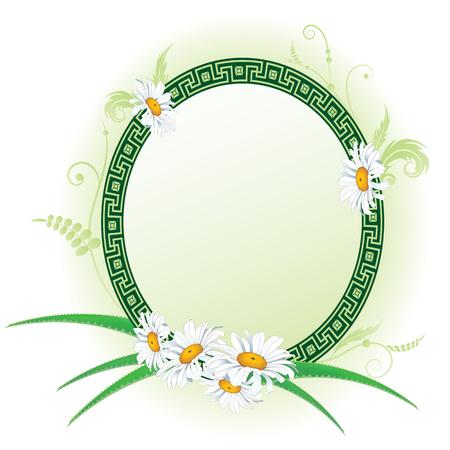 vector oval  floral frame with aloe, grass and daisy