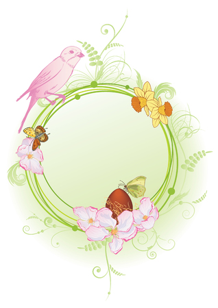 vector spring frame with bird, flowers and butterflies (EPS 10)