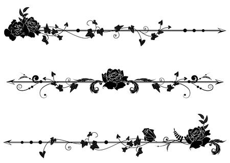 zestaw przegród wektorowych z różami i bluszczem w czerni i bieli