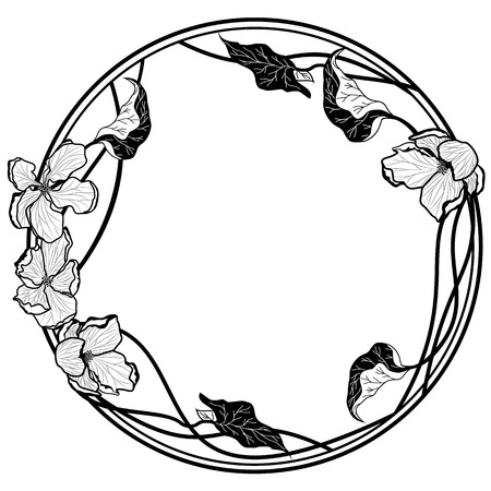 Vector round frame with apple flowers in black and white.