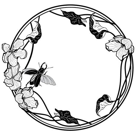Vector frame with stag bug and apple flowers in black and white.