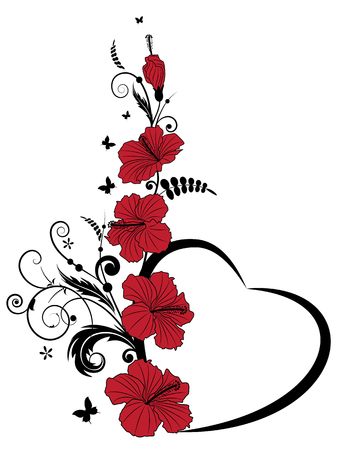 Valentine vector frame with hibiscus, butterflies and heart Vettoriali