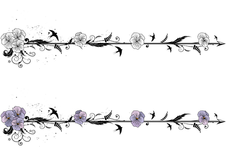 set of vector dividers with flowers of viola  イラスト・ベクター素材