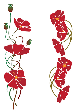 set of vector illustration of flowers of poppy