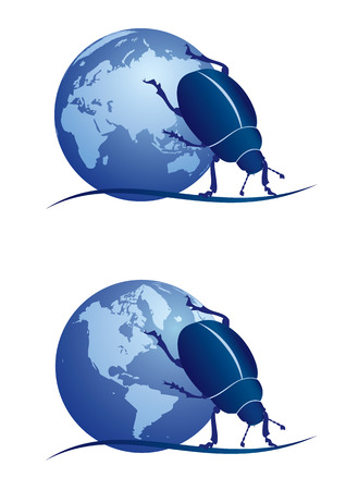 set of vector illustrations with scarab and globe in blue colors