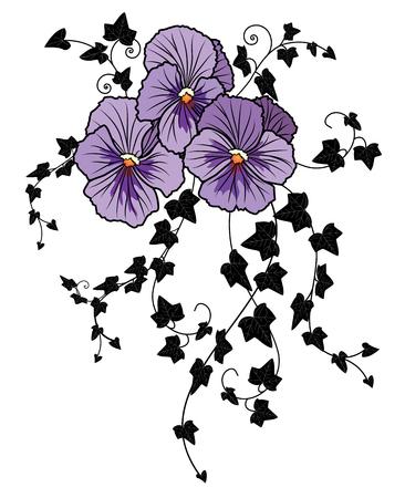illustrazione vettoriale con fiore di viola ed edera (EPS 10)