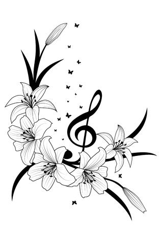 fond floral de vecteur avec lis, clé de sol et papillons en noir et blanc