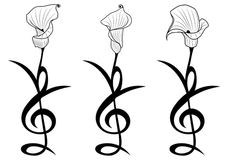 set of vector floral illustrations with lily as treble clef in black and white Stock Illustratie