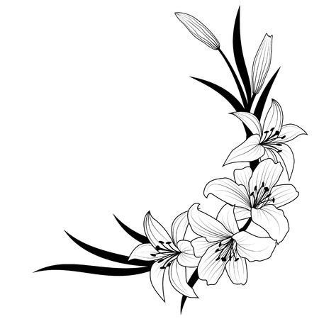 illustration vectorielle de fleur de lys en couleurs noir et blanc Vecteurs