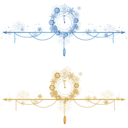 set of Christmas dividers with clock and snowflakes in blue and gold colors Standard-Bild - 127472277