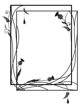vector rectangle frame with thistle and drop in black and white colors 向量圖像