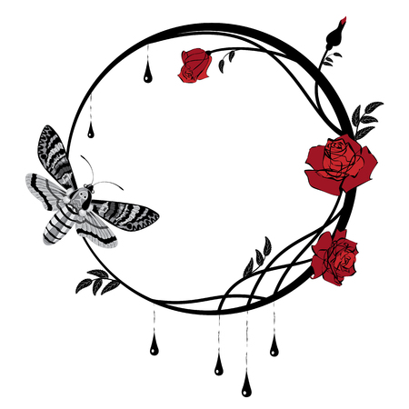 vector frame with butterfly death's head hawk moth and roses in black and red colors