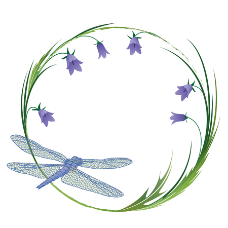 vector round frame with dragonfly and blubells EPS 10