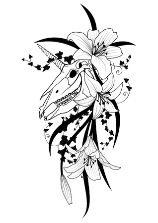 Vector illustration with scull of unicorn, ivy and flowers of lily in black and white colors