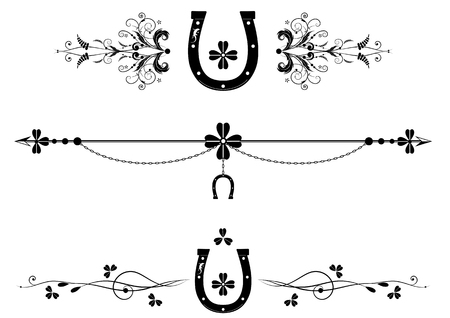 set of dividers with shamrock, horseshoe, chain and lizard in black and white