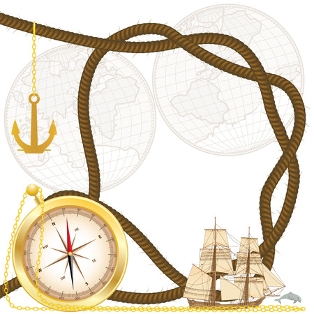 vector frame with tallship, compass, anchor, timber hitch and dolphin (EPS 10) 写真素材 - 124326690