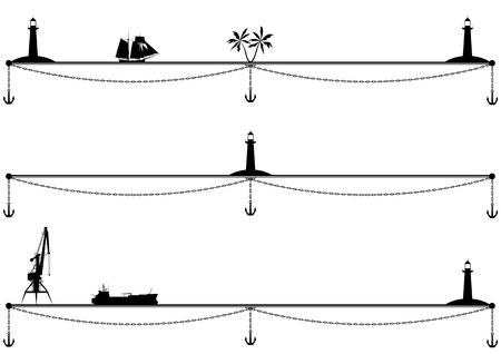 ensemble de diviseurs vectoriels de mer avec navires, palmiers, grue portuaire et phare en noir et blanc