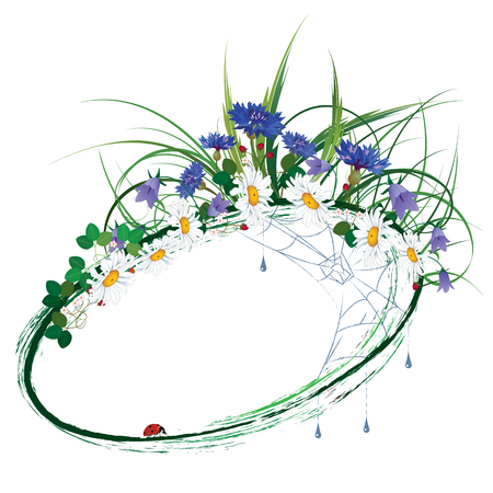 vector floral frame with wild flowers, strawberry, ladybird, drops and spiderweb Vektorgrafik