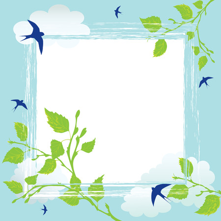 vector frame with swallows, clouds and branches of birch Vectores