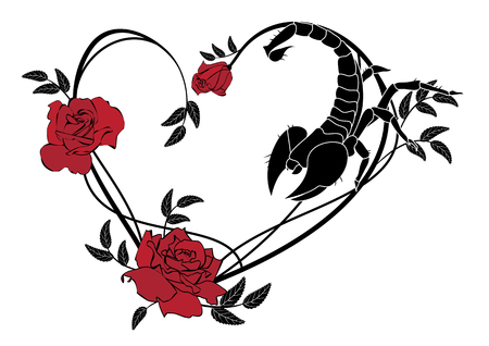 Valentinstag-Vektorrahmen mit Rosen und Skorpion in roten und schwarzen Farben