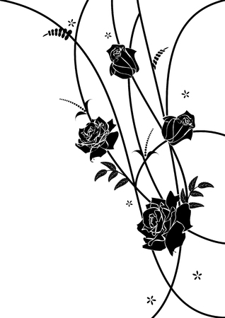 vector floral background with roses for corner design in black and white colors