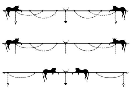 set di divisori vettoriali con gatto stilizzato o pantera, catena e segno di Marte, Venere e cuore in bianco e nero Vettoriali