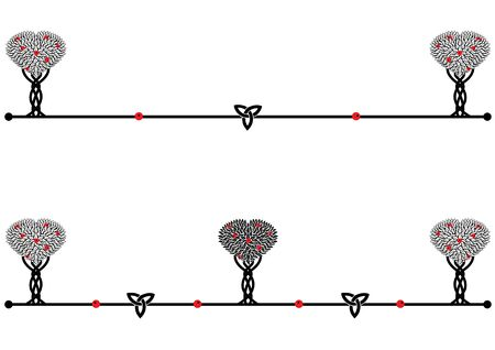 set of vector dividers with stylized apple trees in black, white and red colors