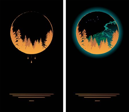 set of vecctor frames with forest,  Big Dipper and Aurora Borealis in black, gold and green colors, wallpapers