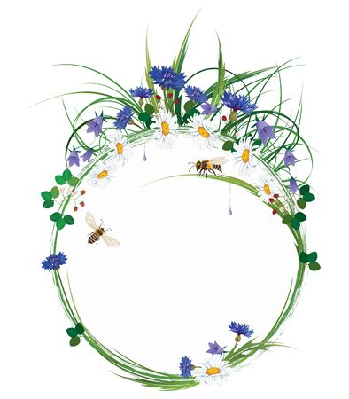 vector round floral frame with wild flowers, bees and strawberry