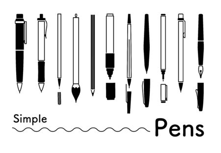 Monochrome and simple icons set of various types of pen Stock Illustratie
