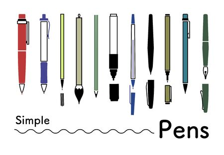 Various kinds of simple icons set with pen color