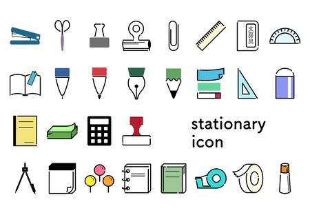 Various types of stationery color icons set