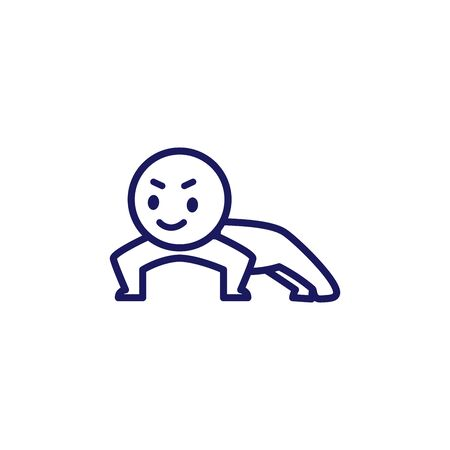 Illustration of a deformed simple human doing push-ups