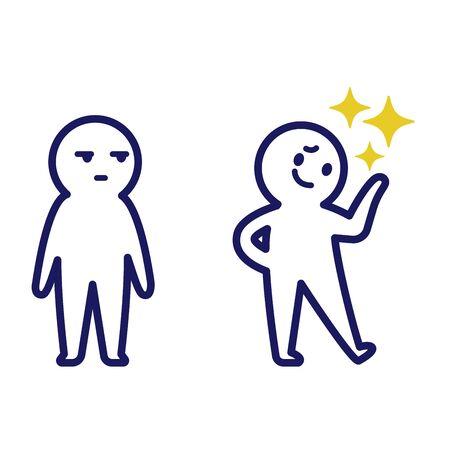Illustration d'un homme fier avec sa main gauche levée et un autre humain simple déformé le regardant
