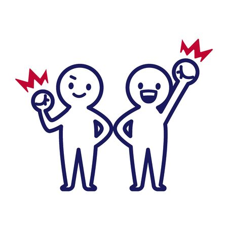Illustration of two deformed simple humans making guts poses with right hand and left hand respectively Stock Illustratie