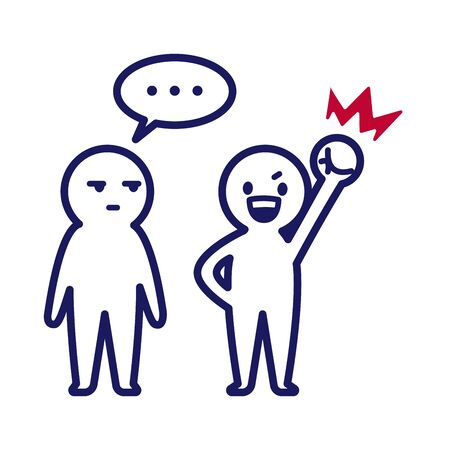 Illustration of a deformed simple human with a left hand fist sticking out and a person looking at it and looking silent