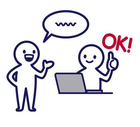 Illustration of a simple deformed human being using a person who speaks with his left hand out and a computer that gives ok to it
