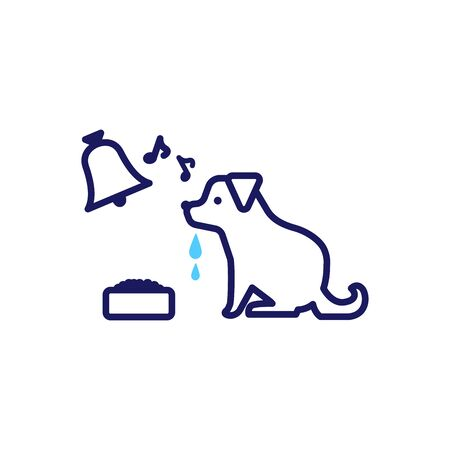 Illustration of a simple deformed dog and bell drooling in front of food